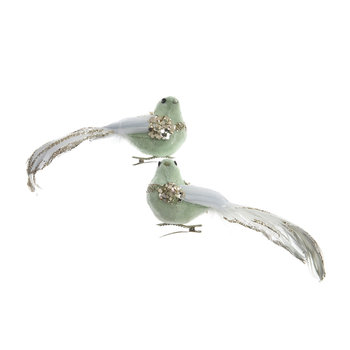 Decorative Bird on Clip - Set of 2 - Eucalyptus
