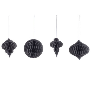Papel Paper Tree Decorations - Set of 4 - Grey