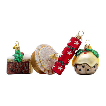 Little English Christmas Dinner Tree Decoration - Set of 4