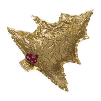 Petite Holly Sprig Tree Bowl - Gold