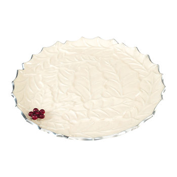 Holly Sprig Round Platter - Snow