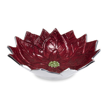 Poinsettia Serving Bowl - Pomegranate