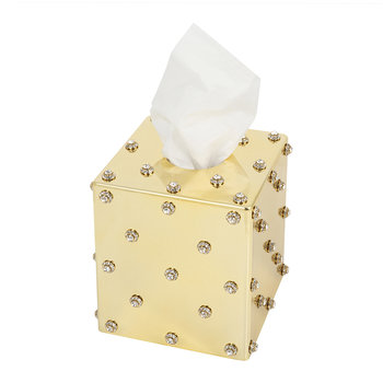 Nova Jewelled Glass Tissue Box - Gold