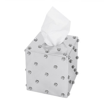 Nova Jewelled Glass Tissue Box - Silver