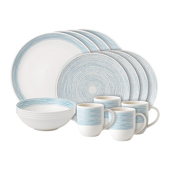 Ellen DeGeneres 16 Piece Set - Polar Blue Dots