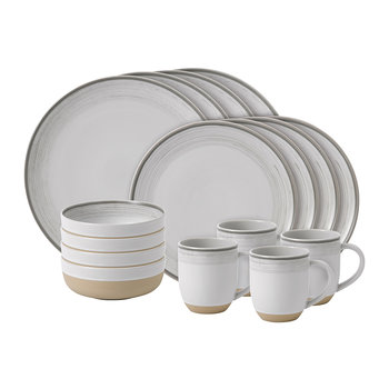 Ellen DeGeneres Glazed 16 Piece Set - White