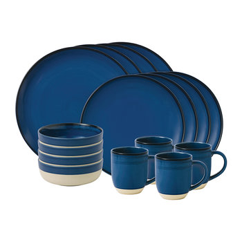 Ellen DeGeneres Glazed 16 Piece Set - Dark Blue
