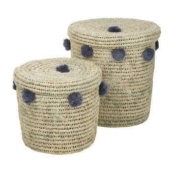 Bahia Pom Pom Baskets with Lid - Set of 2 - Grey