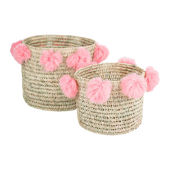 Bahia Pom Pom Baskets - Set of 2 - Rose