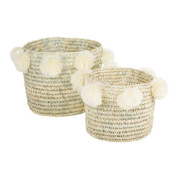 Bahia Pom Pom Baskets - Set of 2 - Cream