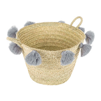 Bahia Pom Pom Magazine Holder - Grey