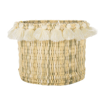 Fluorspar Bucket with Tassels - Cream