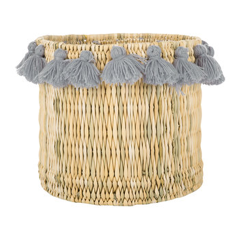 Fluorspar Bucket with Tassels - Grey