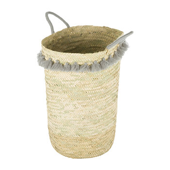 Fluorspar Laundry Basket with Tassels - Grey