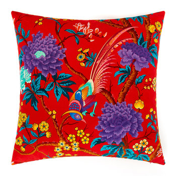 Elysian Paradise Velvet Pillow - 60x60cm - Red