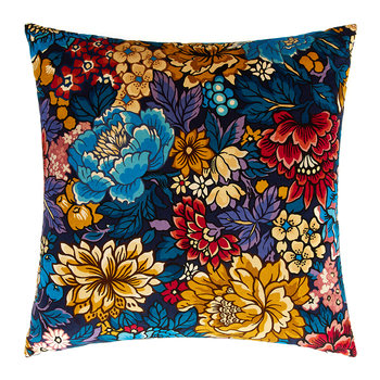 Garden Of Beauty Velvet Cushion - 50x50cm - Navy