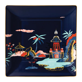 Wonderlust Square Tray - Blue Pagoda