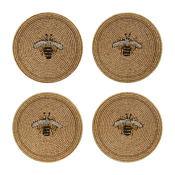 Set of 4 Coasters - Stripy Bee