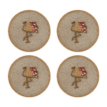 Set of 4 Coasters - Flamingo