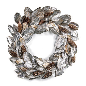 Silver & Brown Pinecone Wreath