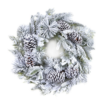 Flock Pine Wreath