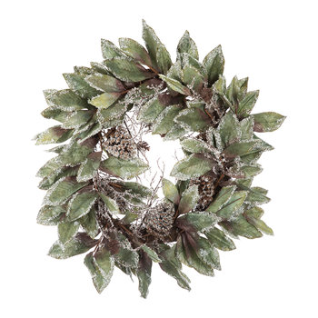 Frosted Leaf & Pine Wreath