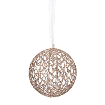 Glitter Open Net Tree Decoration - Rose Gold