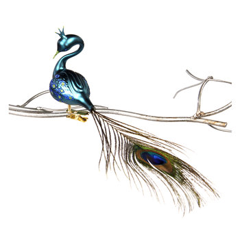 Glass Clip-On Peacock