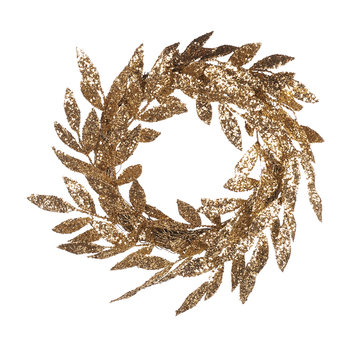 Glitter Leaf Gold Wreath