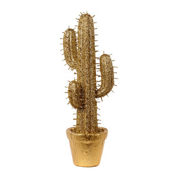 Decorative Glitter Cactus in Pot - Gold