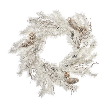 White Glitter Pine Wreath