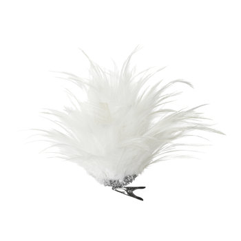 Feather Flower on Clip - White