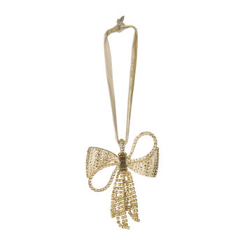 Sparkle Bow Christmas Tree Decoration - Topaz