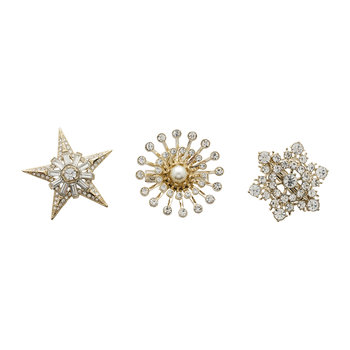 Gold/Crystal Star Clips - Set of 3