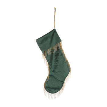 Velvet Tassel Edge Stocking - Forest Green
