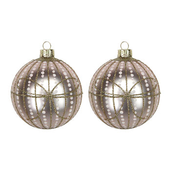Pink Glass Bauble with Dots - Set of 2