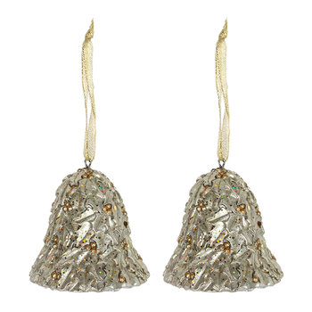 Gold Holly Bell Tree Decoration - Set of 2
