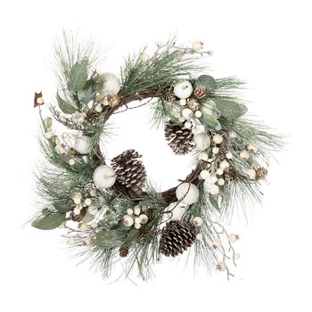 Fir & Leaf LED Wreath - Blue/White