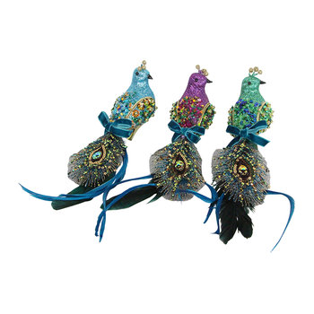 Clip-on Peacock Tree Decorations - Set of 3