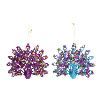 Fantail Peacock Tree Decorations - Set of 2