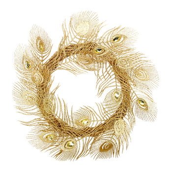 Gold Glitter Peacock Wreath