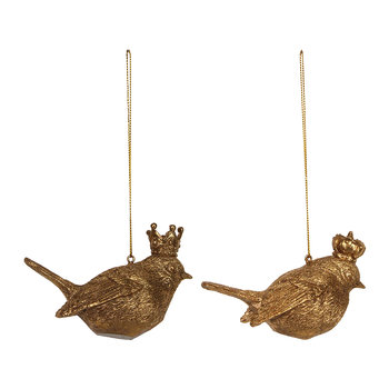 Gold Bird with Crown Tree Decoration - Set of 2