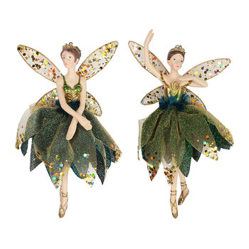 Gold/Peacock Ballerina Tree Decorations - Set of 2