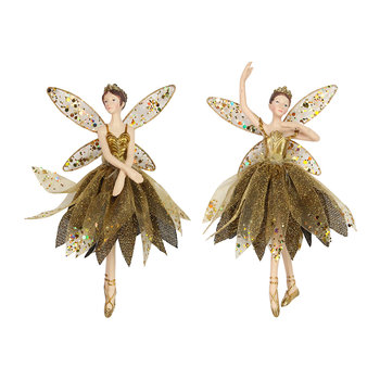 Gold Ballerina Tree Decoration - Set of 2