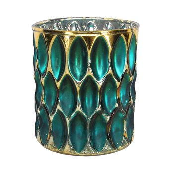 Turquoise/Gold Dimpled Pot