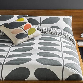 Giant Stem Flannel Duvet Cover - Granite