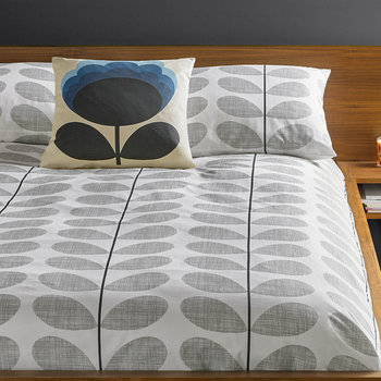 Scribble Stem Duvet Cover - Light Concrete