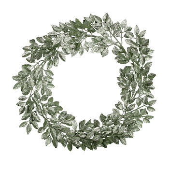 Glittered Leaf Wreath - Pale Blue