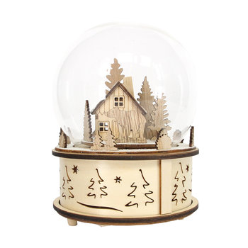 Wooden House in Glass Music Dome