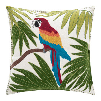 Tropical Parrot Pillow - Cream
